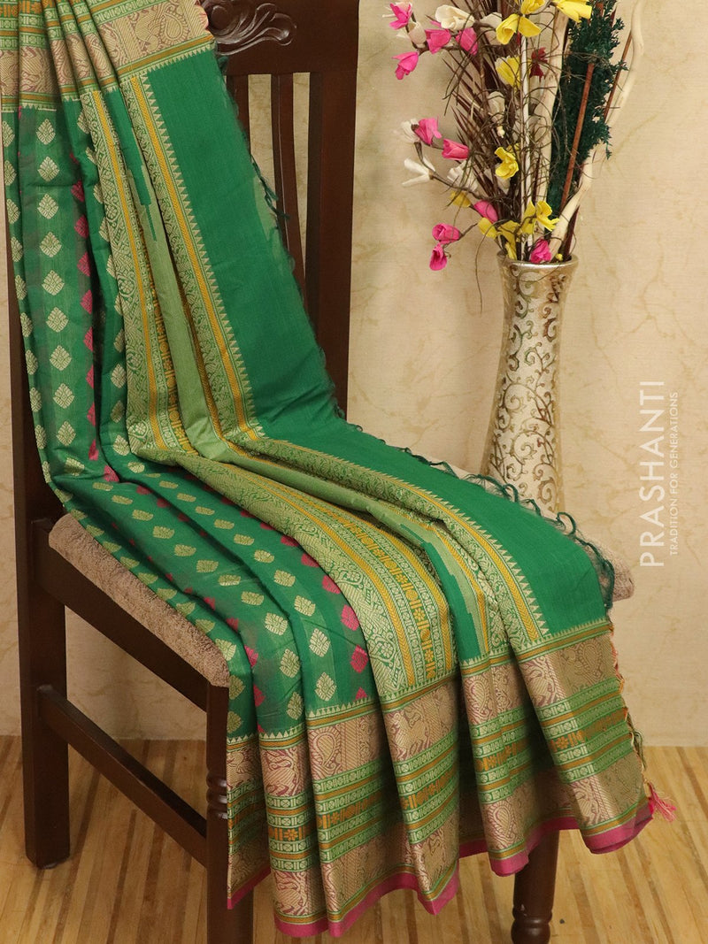 Kanchi cotton sarees green with allover thread buttas and woven butta border