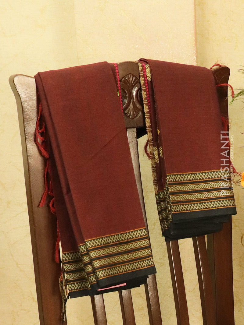 Kanchi cotton sarees coffee brown and black with thread woven buttas and thread woven border for Rs.Rs. 3290.00 | Cotton Sarees by Prashanti Sarees