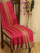 Kanchi cotton sarees redish pink and green with allover checks and buttas in thread woven border