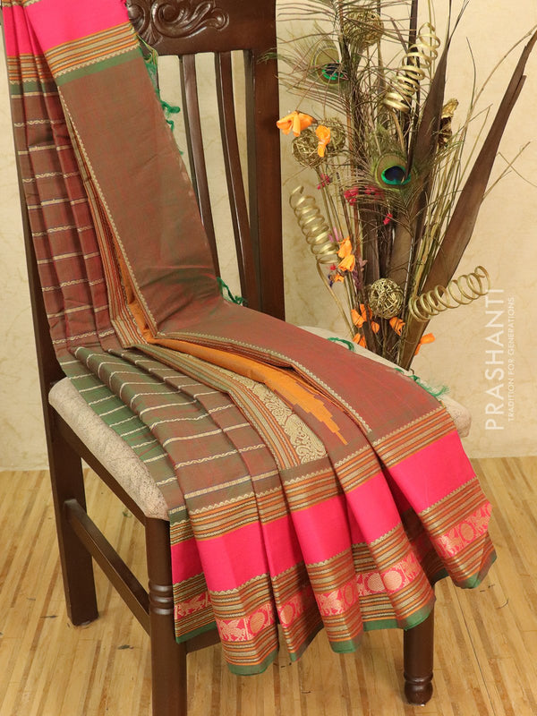 Kanchi cotton sarees dual shade of green and pink with allover thread weaves and thread woven border