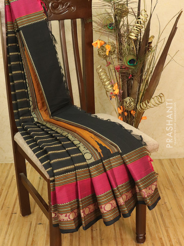 Kanchi cotton sarees black and magenta pink with allover thread weaves and thread woven border