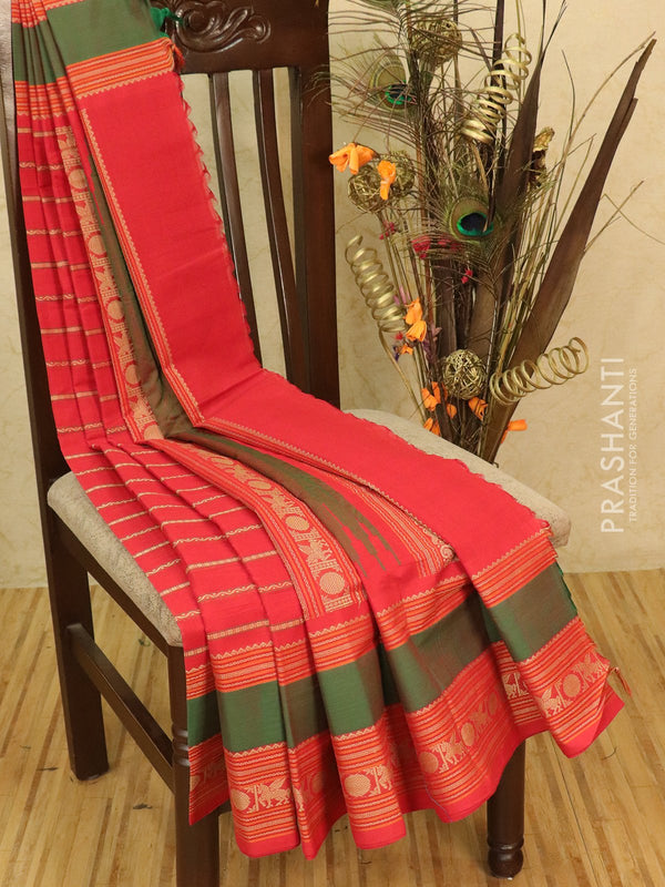 Kanchi cotton sarees red and green with allover thread weaves and thread woven border