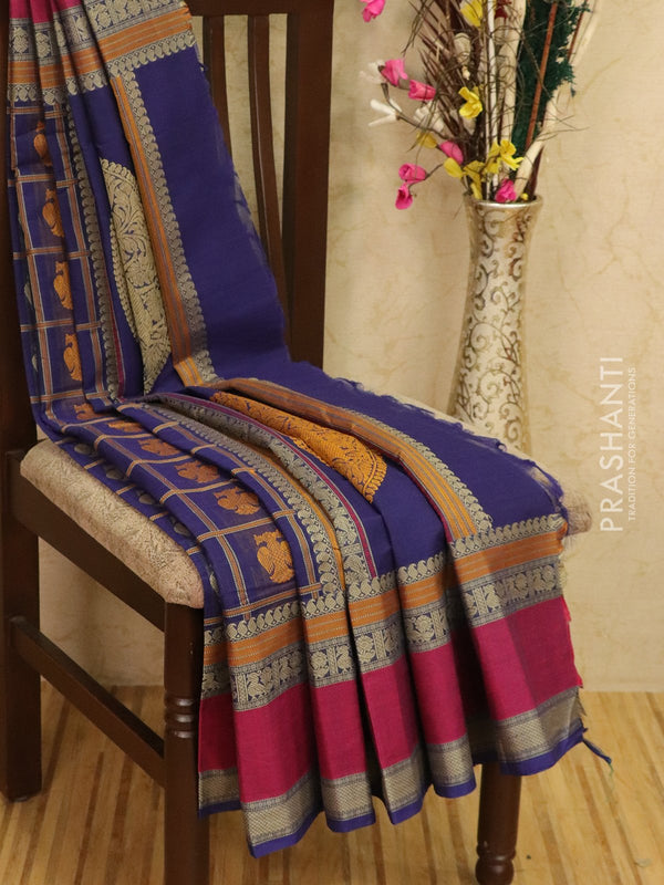 Kanchi cotton sarees blue and pink with all over checks and buttas in thread woven border