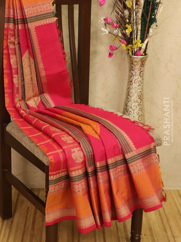 Kanchi cotton sarees pink and mustard with all over checks and buttas in thread woven border