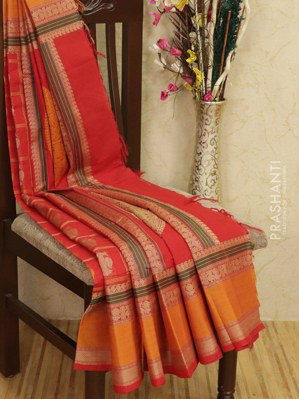 Kanchi cotton sarees red and mustard with all over checks and buttas in thread woven border