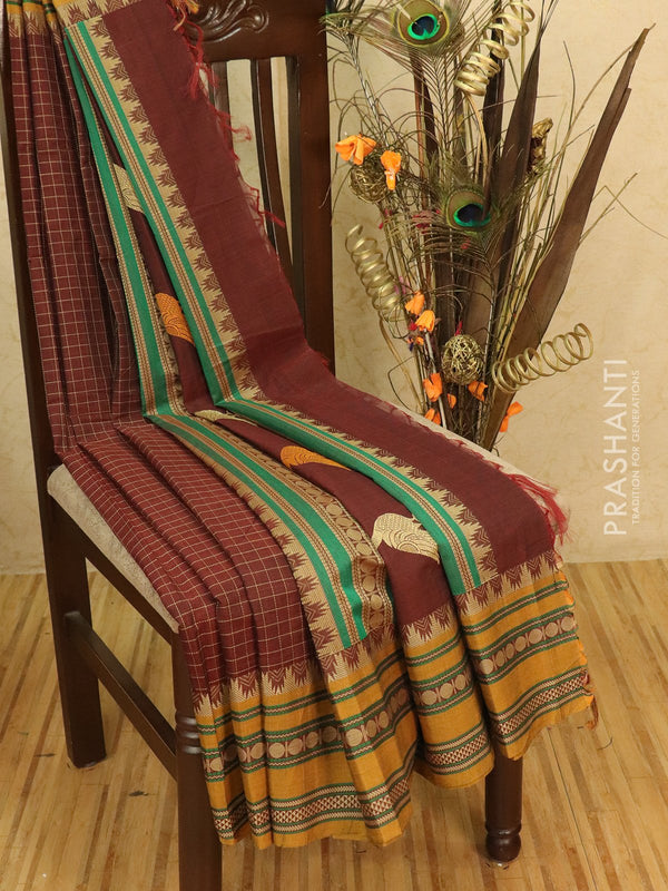 Kanchi cotton sarees coffee brown and mustard with checks pattern and thread woven border