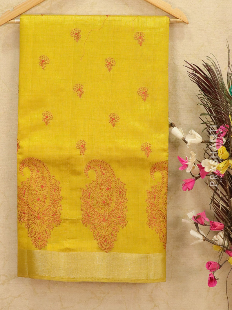 Semi tussar saree lime yellow with embroided pattern