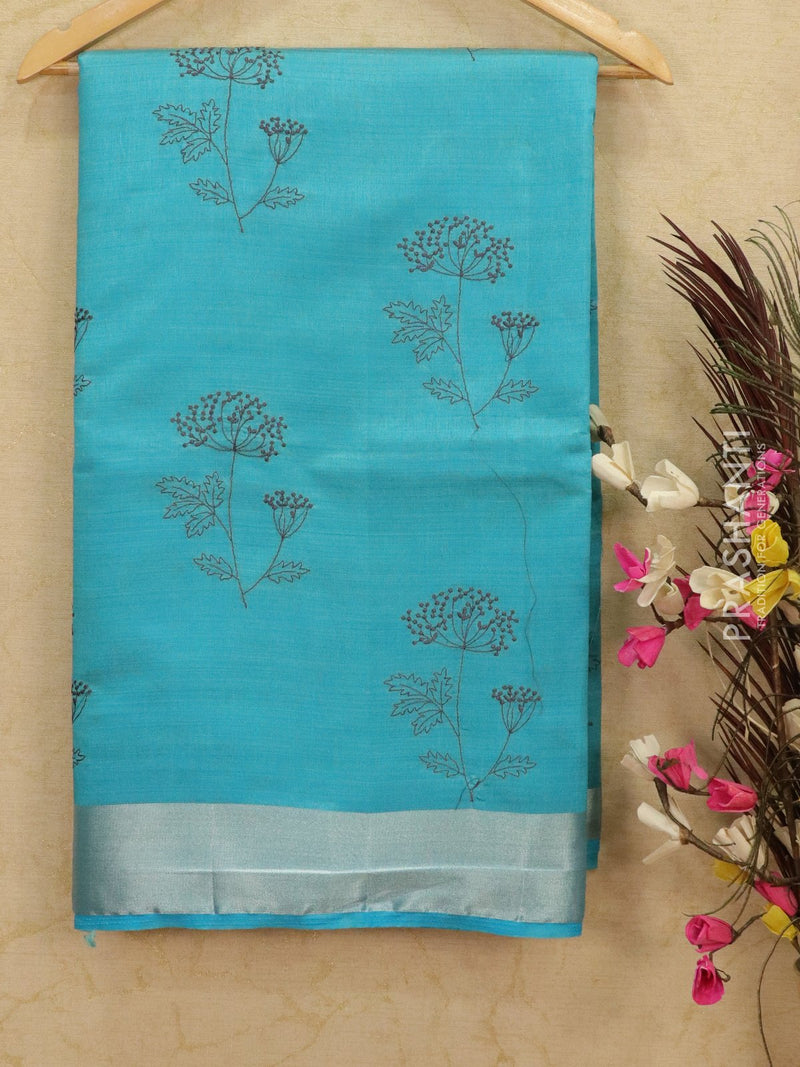 Semi tussar saree cs blue with embroided pattern