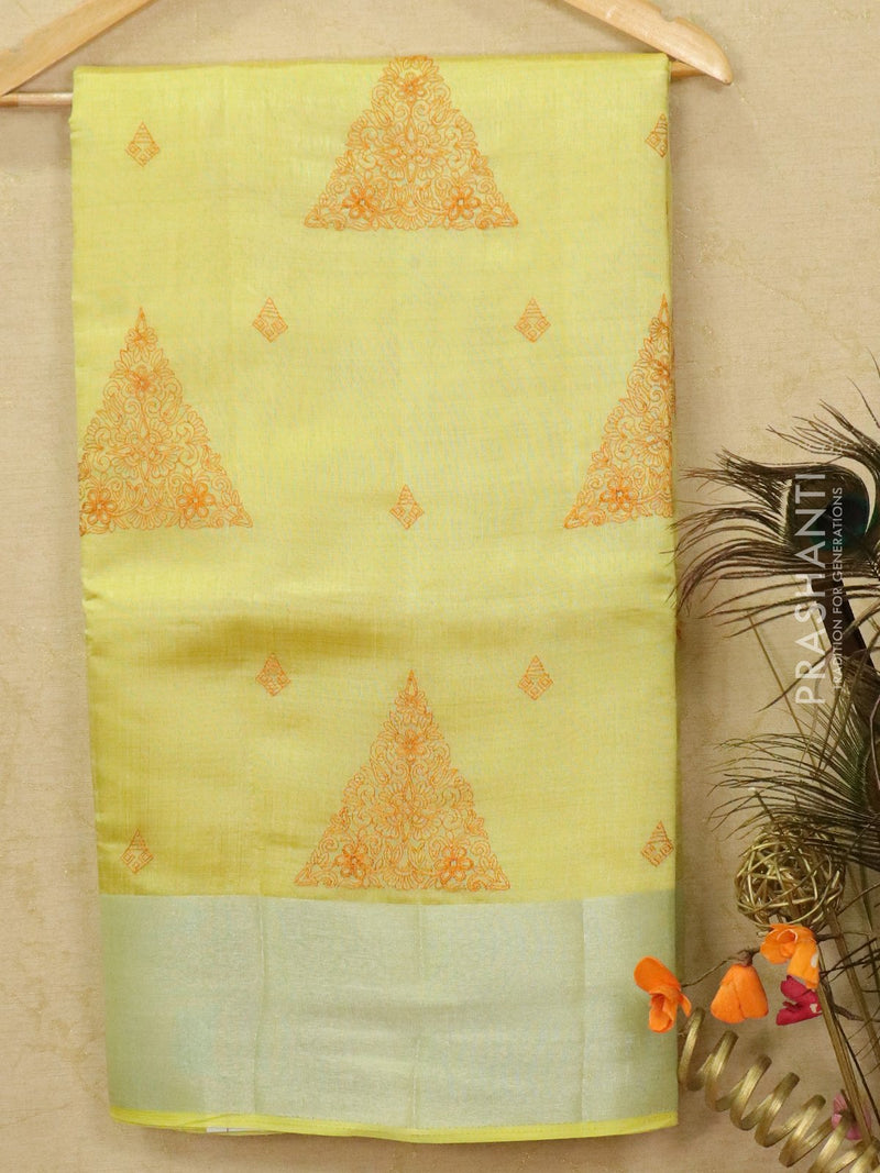 Semi tussar saree yellow with embroided pattern for Rs.Rs. 1590.00 | by Prashanti Sarees