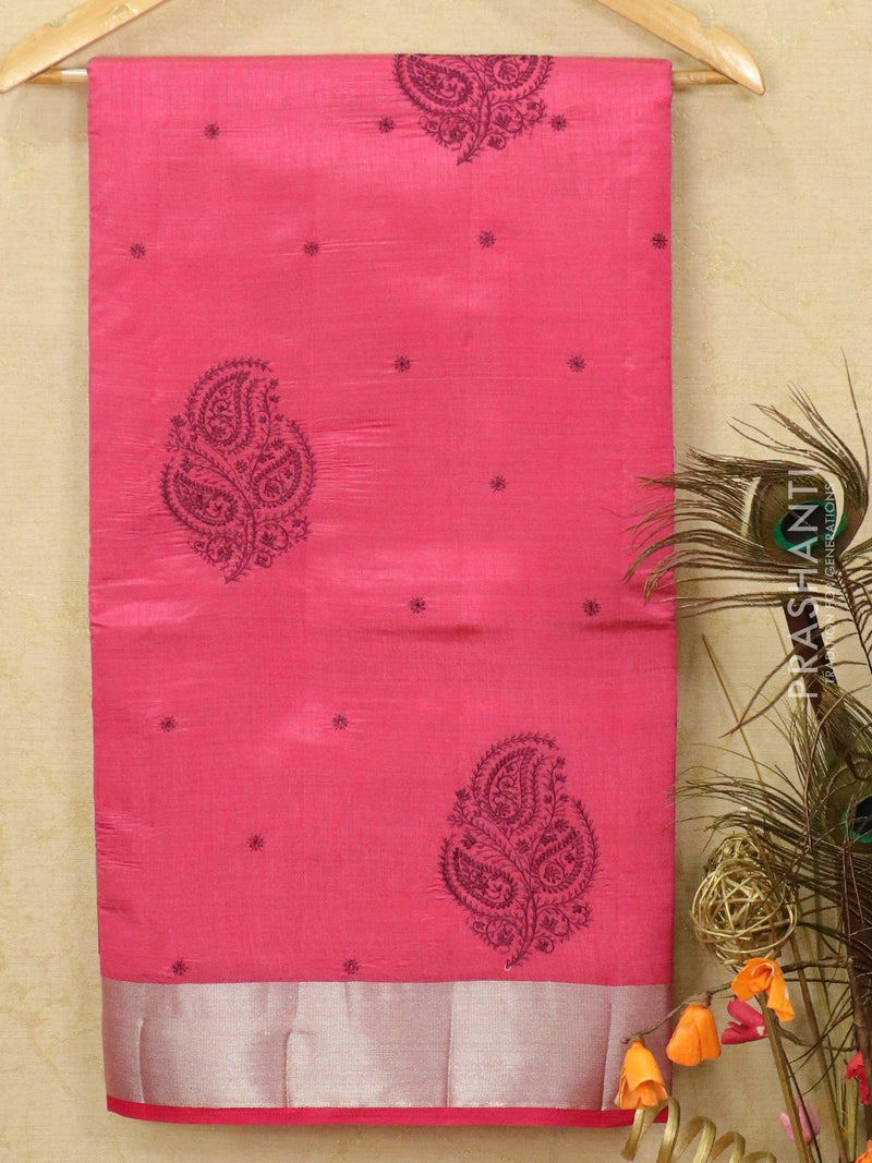 Semi tussar saree pink with embroided pattern