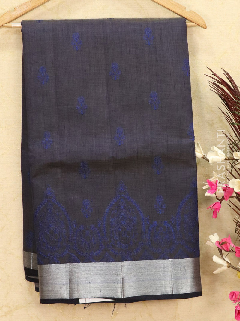 Semi tussar saree navy blue with embroided pattern