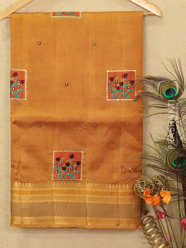 Semi tussar saree mustard yellow with embroided pattern for Rs.Rs. 1590.00 | by Prashanti Sarees