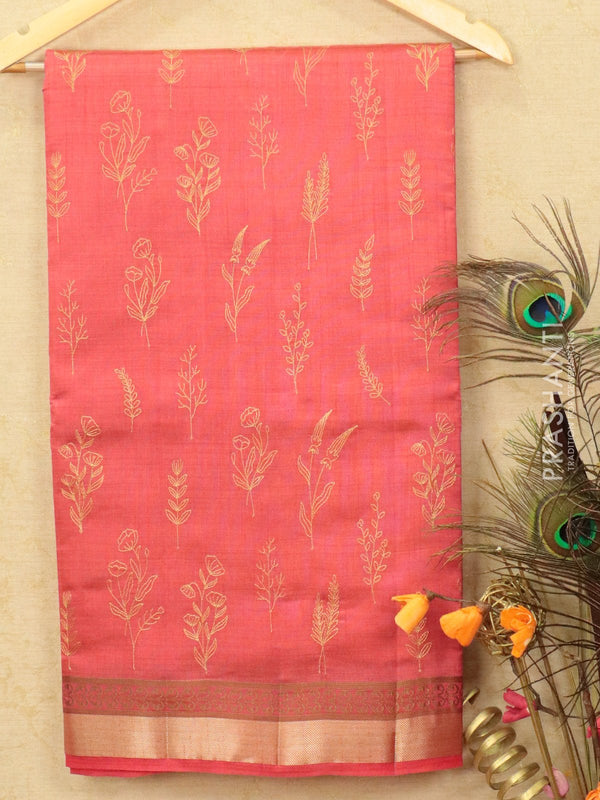 Semi tussar saree peach pink with embroided pattern