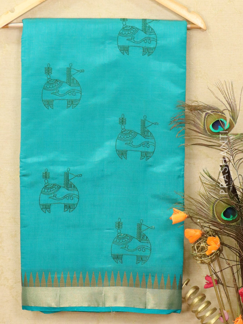 Semi tussar saree blue shade with embroided pattern for Rs.Rs. 1590.00 | Semi Tussar Sarees by Prashanti Sarees