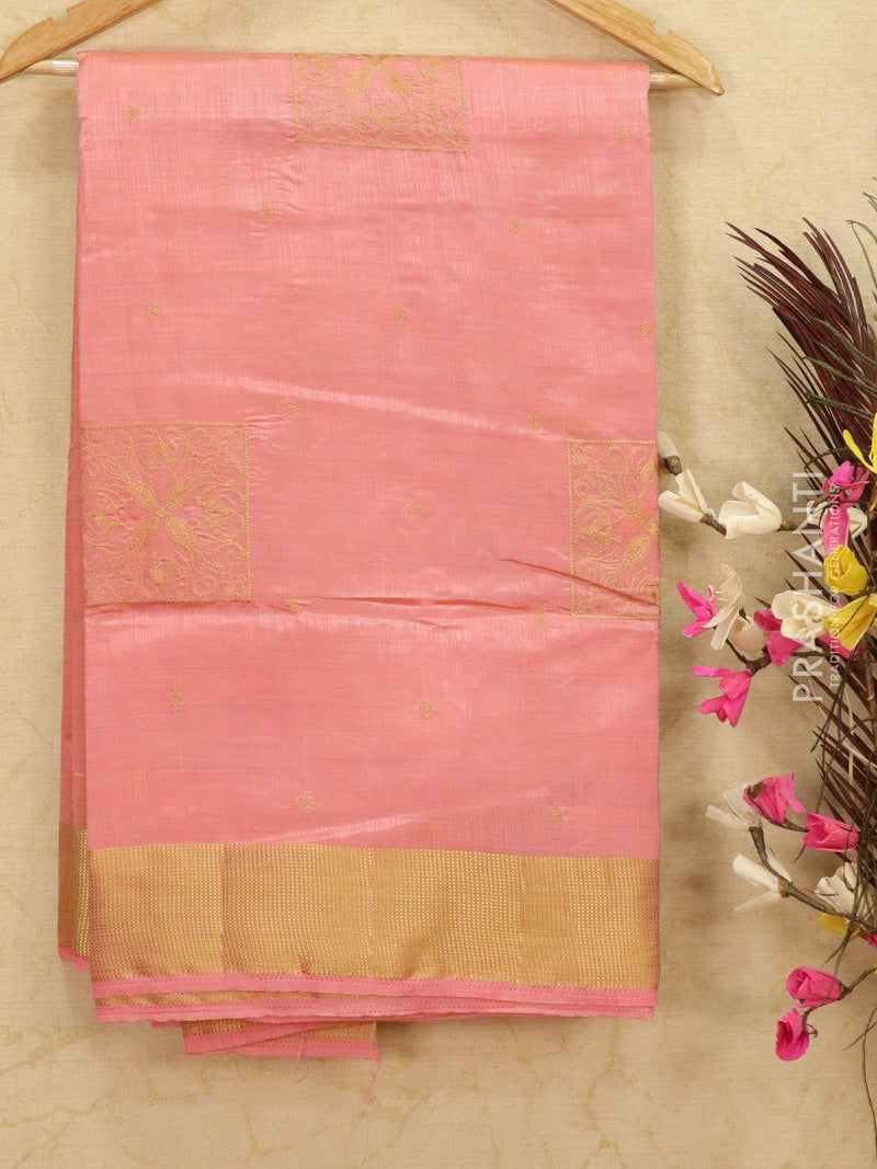 Semi tussar saree light pink with embroided pattern