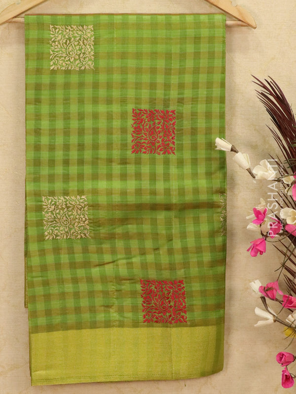 Semi tussar saree green with embroided pattern
