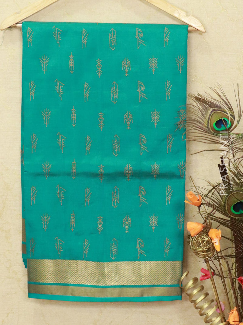Semi tussar saree blue with embroided pattern