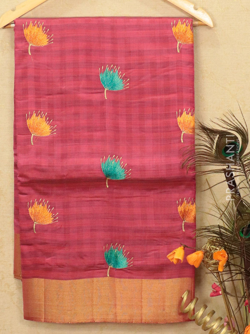 Semi tussar saree pink shade with embroided pattern