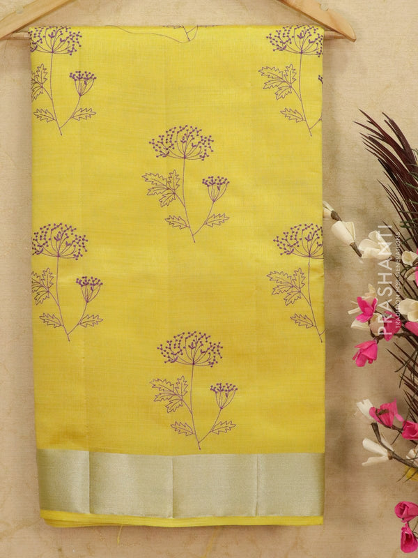 Semi tussar saree yellow with embroided pattern for Rs.Rs. 1590.00 | Semi Tussar Sarees by Prashanti Sarees