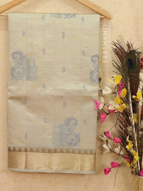Semi tussar saree greyish silver with embroided pattern