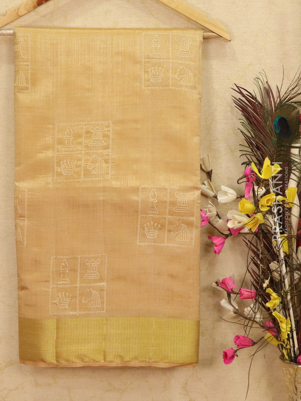 Semi tussar saree beige with embroided pattern