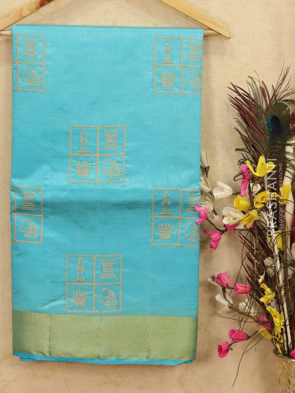 Semi tussar saree light blue with embroided pattern