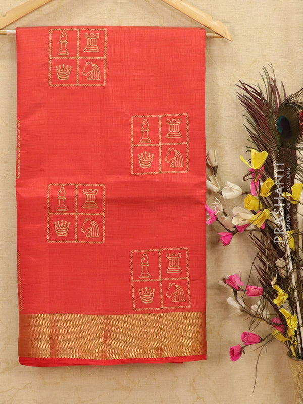 Semi tussar saree red with embroided pattern