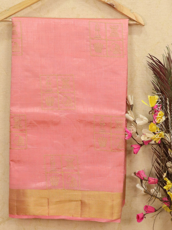 Semi tussar saree baby pink with embroided pattern for Rs.Rs. 1590.00 | Semi Tussar Sarees by Prashanti Sarees