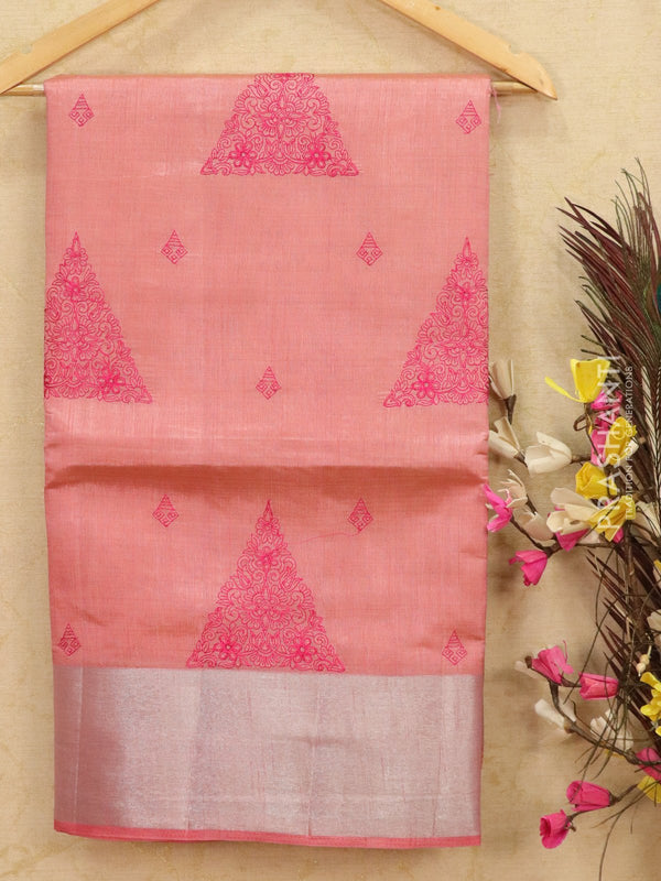 Semi tussar saree baby pink with embroided pattern