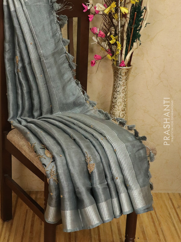Pure linen tissue saree grey with embroided work