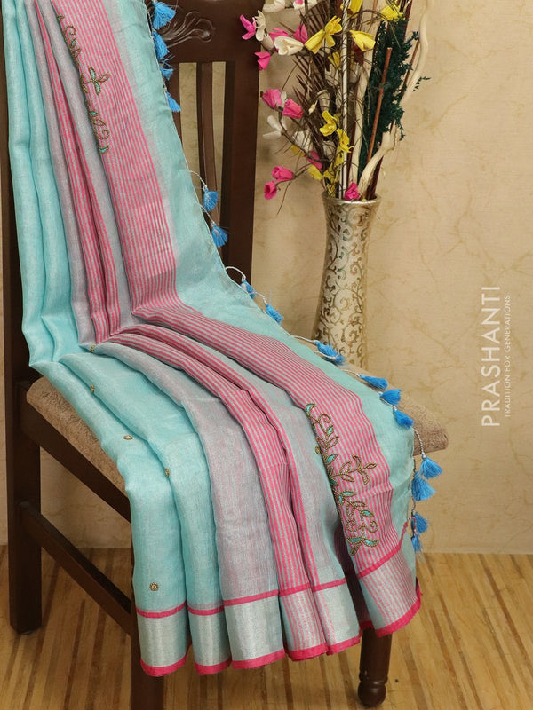 Pure linen tissue saree blue and pink with embroided work