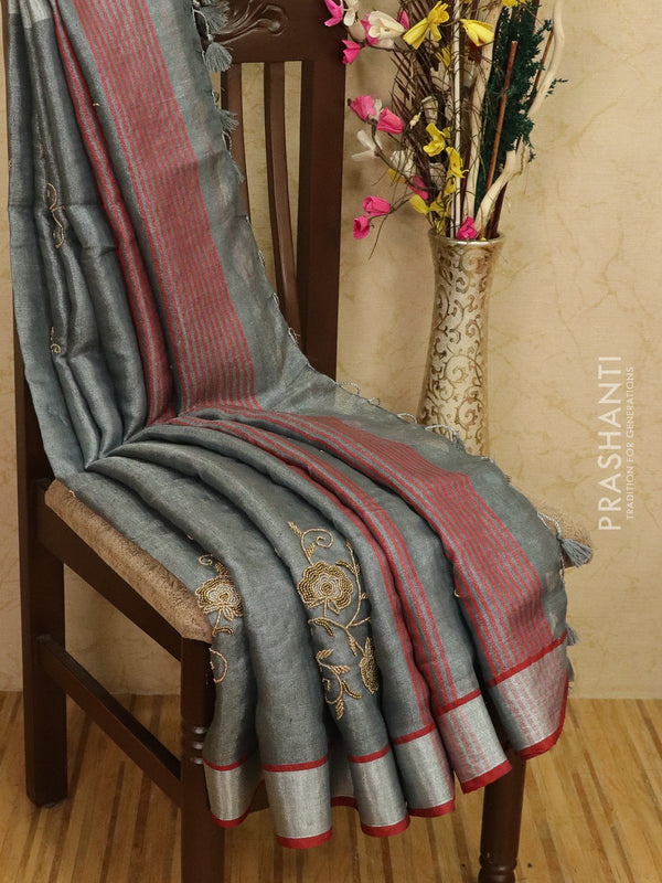 Pure linen tissue saree grey and maroon with embroided work