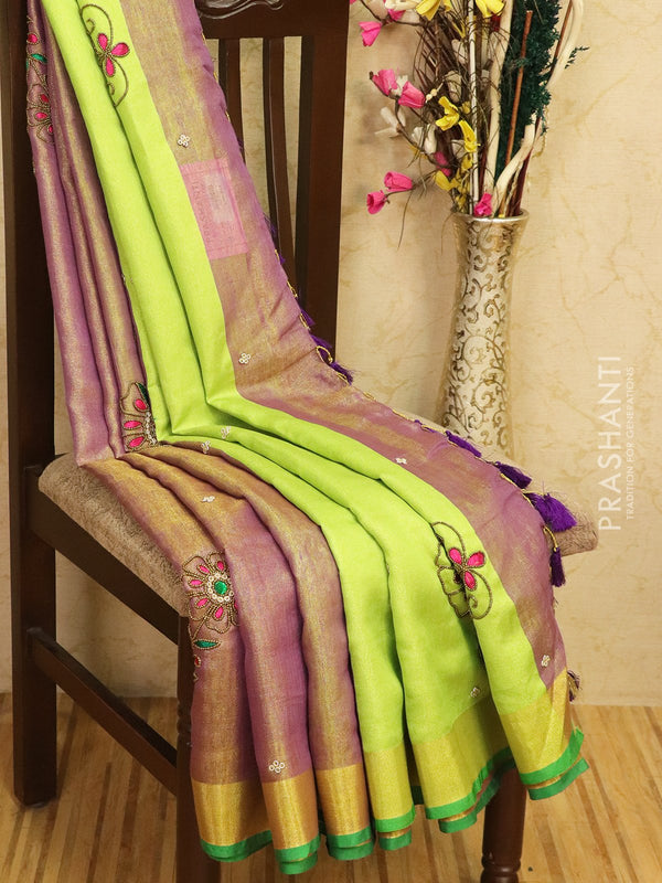 Pure linen tissue saree purple and green with embroided work