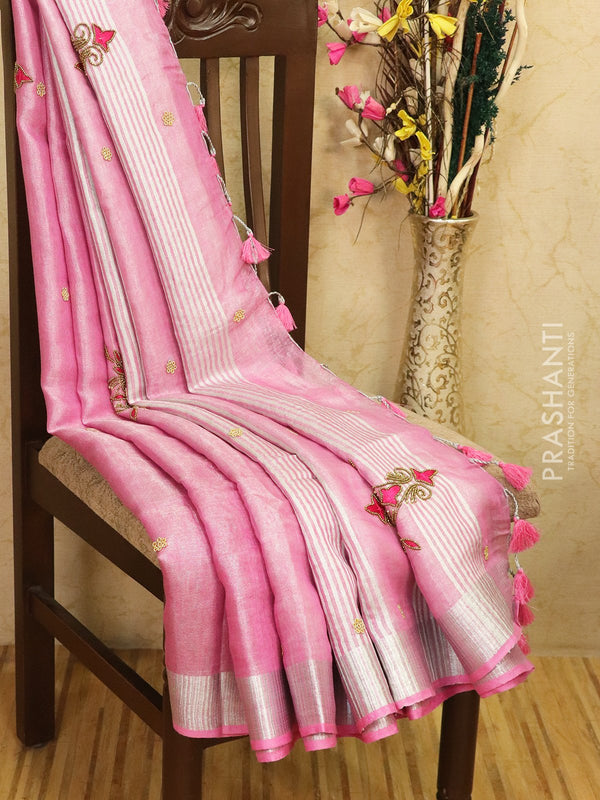 Pure linen tissue saree pink with embroided work