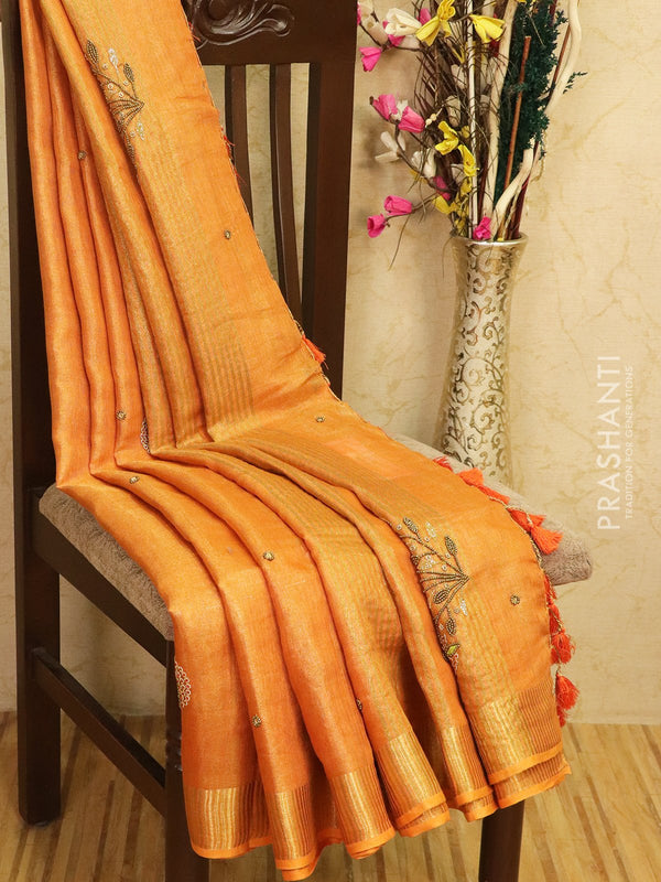 Pure linen tissue saree orange with embroided work