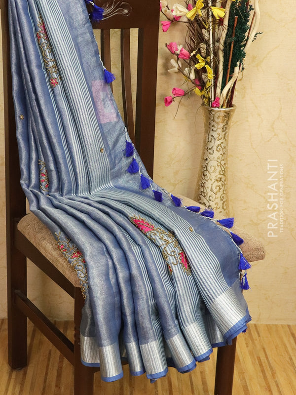Pure linen tissue saree greyish blue with embroided work