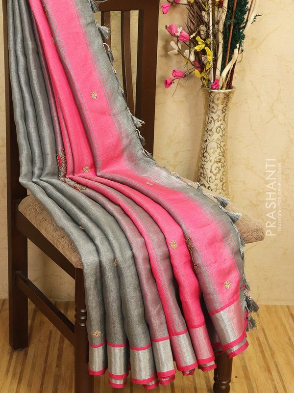 Pure linen tissue saree grey and pink with embroided work