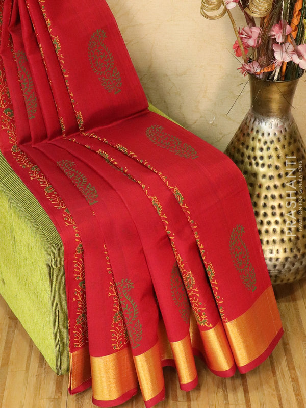 Block printed silk cotton saree maroon with butta prints and zari border