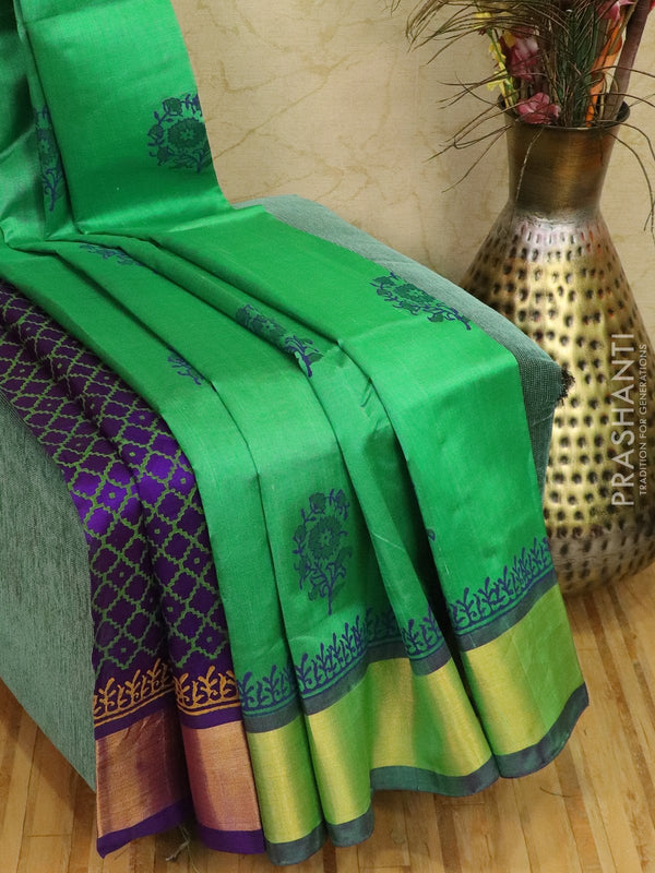 Block printed silk cotton partly saree green and violet with butta prints and zari border