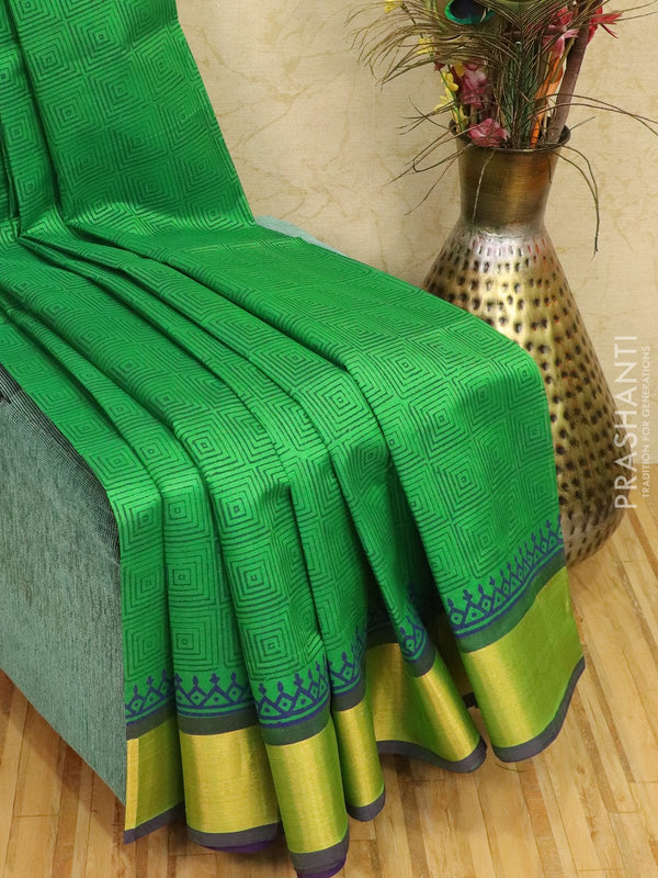 Block printed silk cotton saree green and violet with allover prints and zari border