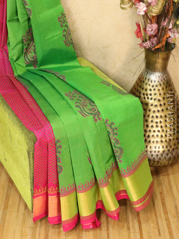 Block printed silk cotton partly saree green and pink with butta prints and zari border