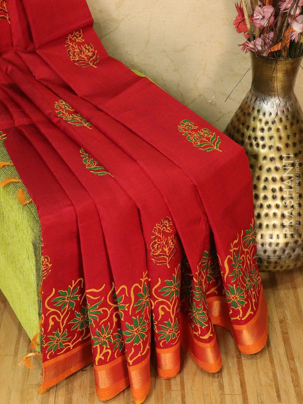 Block printed silk cotton saree red and mustard with butta prints and zari border