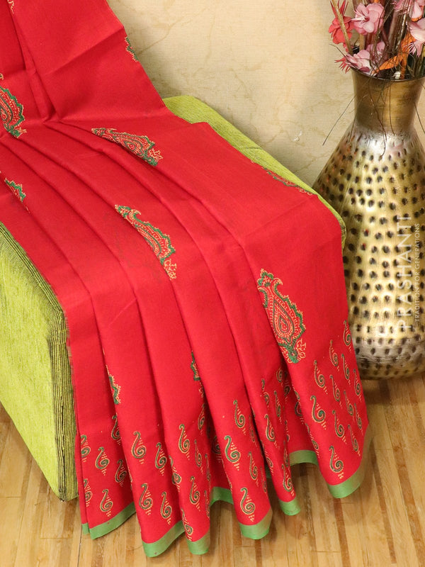 Block printed silk cotton saree red and green with butta prints and zari border