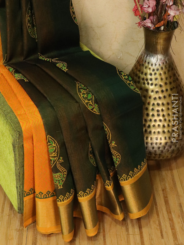 Block printed silk cotton partly saree bottle green and mustard with butta prints and zari border