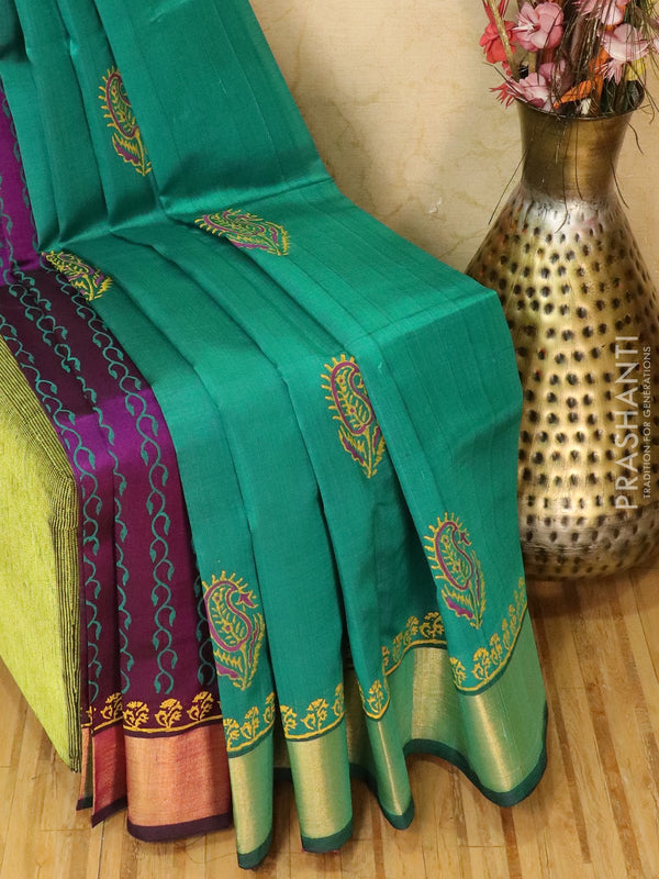 Block printed silk cotton partly saree green and purple with butta prints and zari border