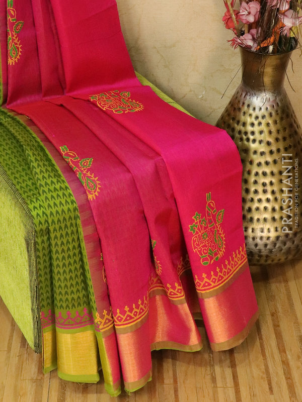 Block printed silk cotton partly saree pink and green with butta prints and zari border