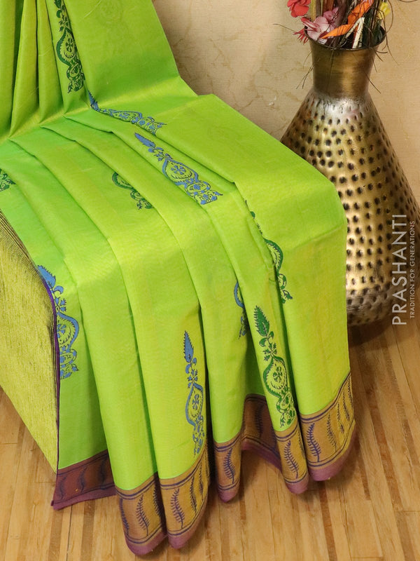 Block printed silk cotton saree lime green and violet with butta prints and simple border