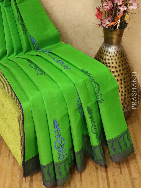 Block printed silk cotton saree green and violet with butta prints and simple border