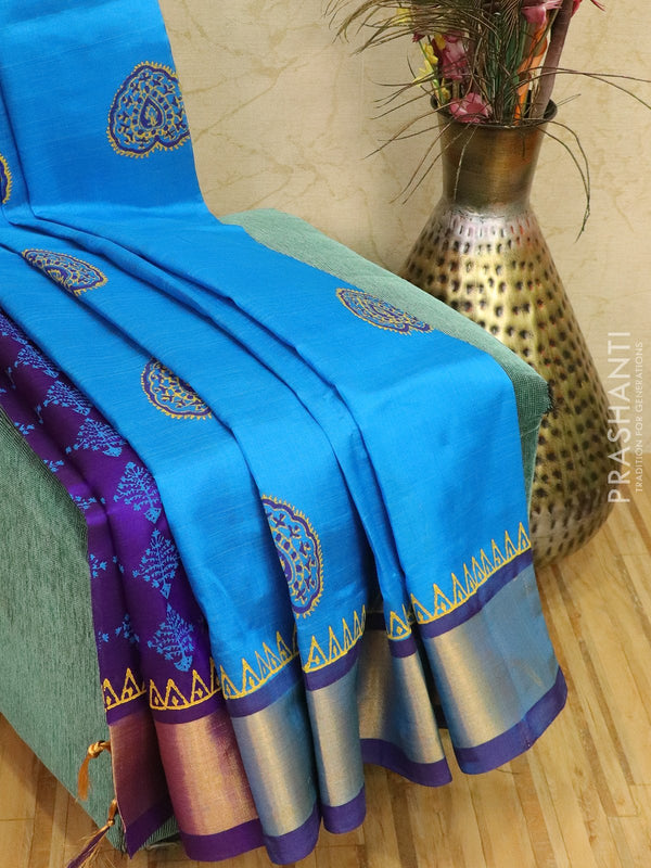 Block printed silk cotton partly saree cs blue and violet with butta prints and zari border