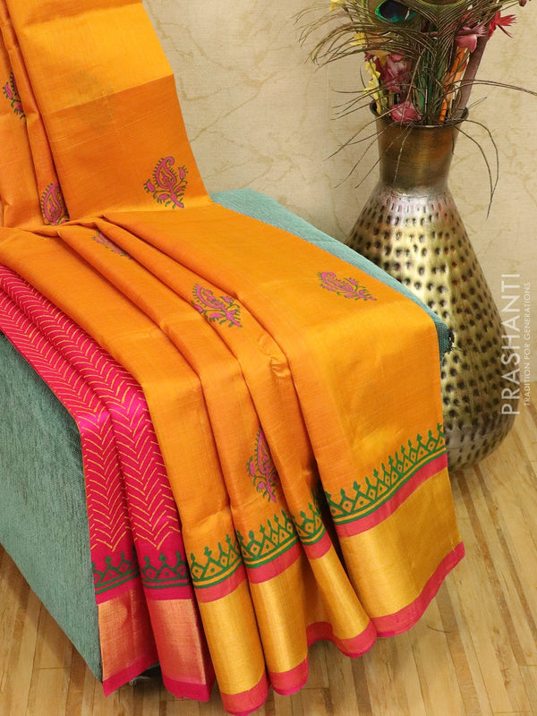 Block printed silk cotton partly saree mustard and pink with butta prints and zari border